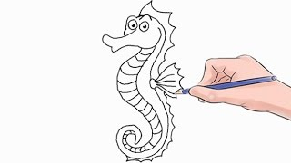 How to Draw a Seahorse Easy Step by Step