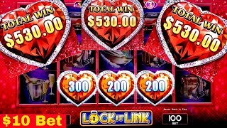 Lock It Link Slot Machine $10 Bet Bonus WON | GREAT SESSION | FAST CASH Miss Kitty Slot Bonus Won