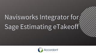 Navisworks Integrator for Sage Estimating eTakeoff