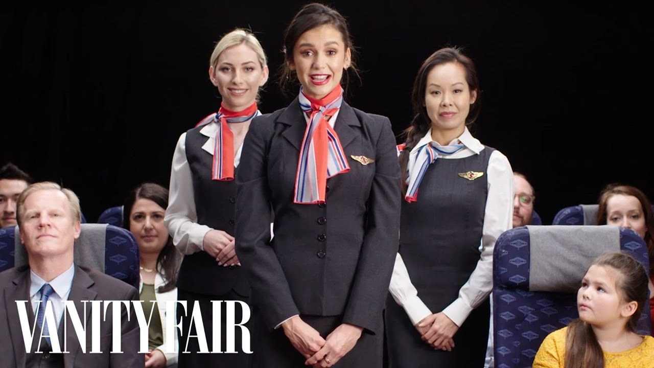 Nina Dobrev Makes a Flight Safety Video