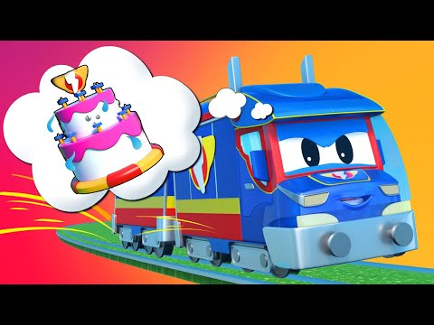 Super Truck -  TRAIN Saves AMBULANCE's Birthday Party - Car City - Truck Cartoons For Kids
