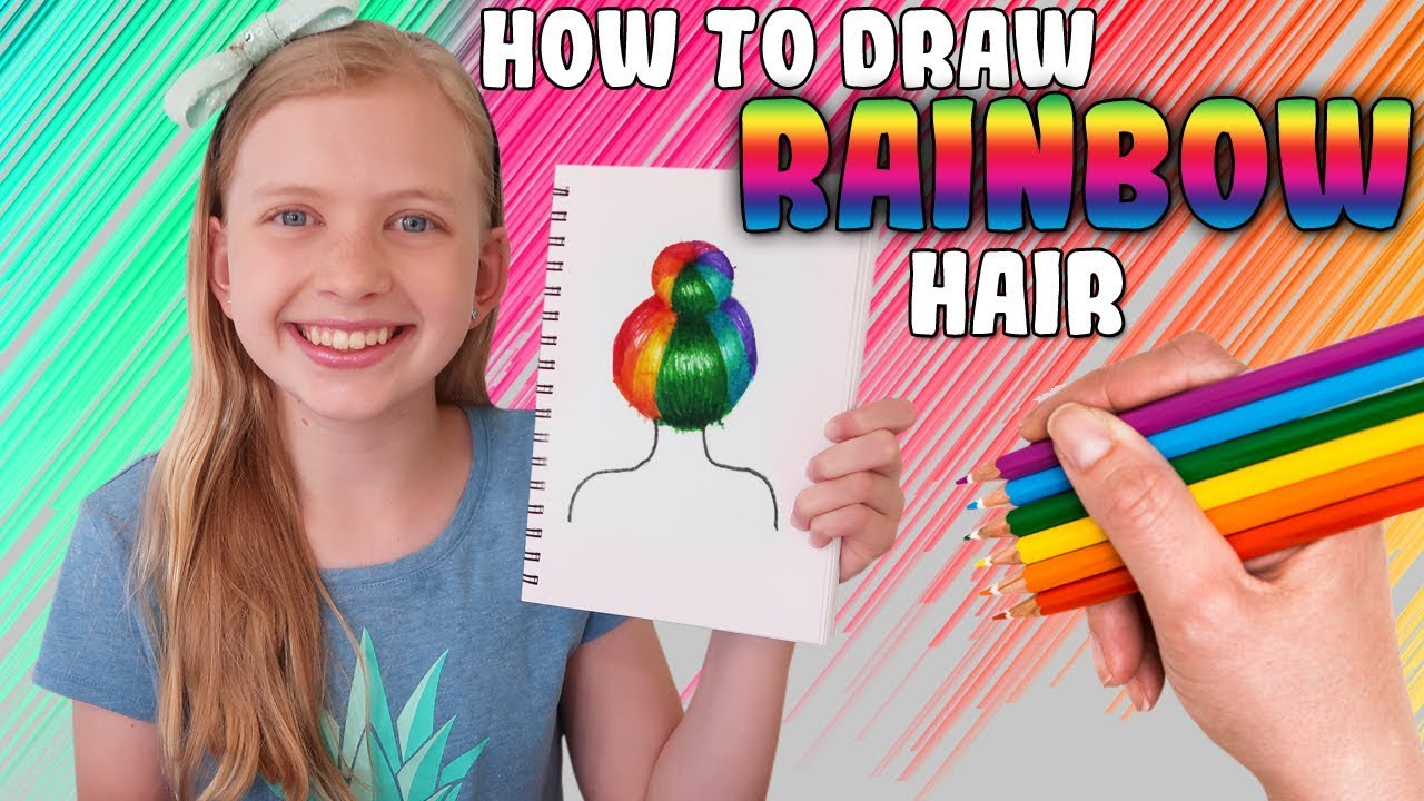 rainbow hair bun tutorial art