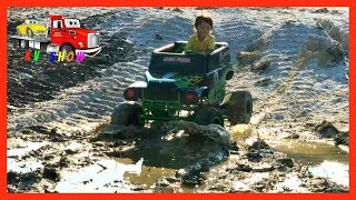 Kruz Joyriding His Powered Ride On Monster Jam Grave Digger 24 volt Playing in the Mud!