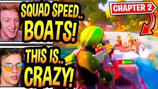 """Streamers React To *NEW* """"SPEED BOATS"""" GAMEPLAY In Fortnite! (Chapter 2 Battle Pass Trailer)"""