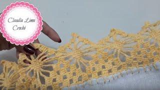 Como Fazer Bico de Crochê Carreira Unica em Pano de Prato