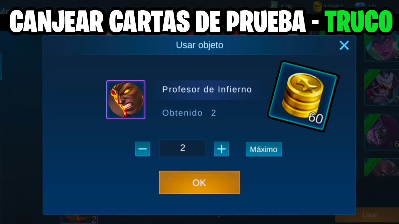 CANJEAR CARTAS DE PRUEBA SIN EL HEROE MOBILE LEGENDS