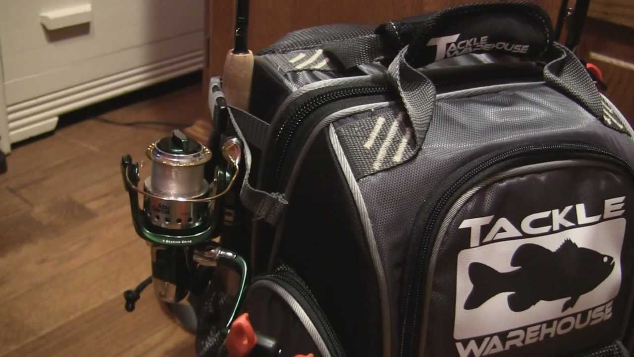Tour of my loaded tackle warehouse angler back pack youtube for Fishing backpack with rod holder