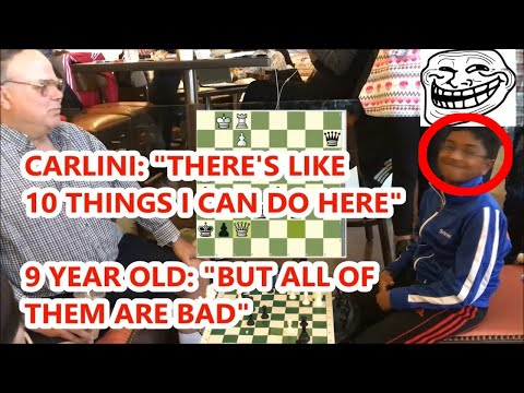 Carlini In The Fight Of His Life vs. 9 Year Old Chess Prodigy Rated 2055!