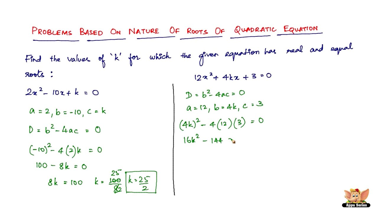 Solving Roots Of Quadratic Equations