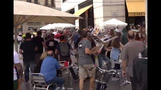 Spain National Day marred with chair throwing incident