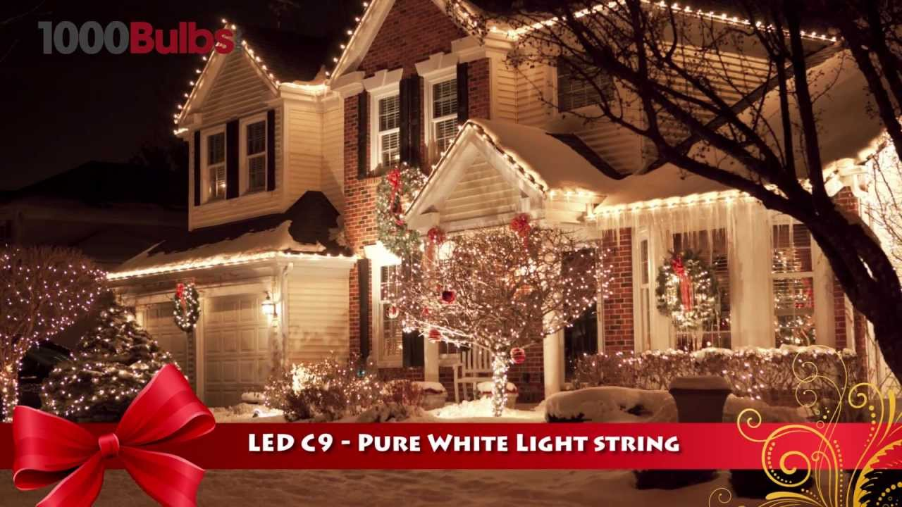 christmas lite co 819016 pure white led c9 christmas string light 26 bulbs youtube