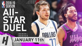 Luka Doncic vs Derrick Rose ALL-STARS Duel Highlights 2019.01.11 - CLUTCH Luka 29 Pts