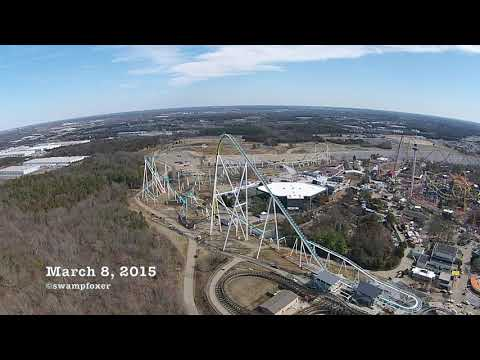 FURY 325 roller coaster official construction drone Jan-March 2015 Carowinds, Charlotte NC
