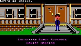 Maniac Mansion (PC/DOS) Rolling Demo, EGA 16-Color, 1987, Lucasfilm Games