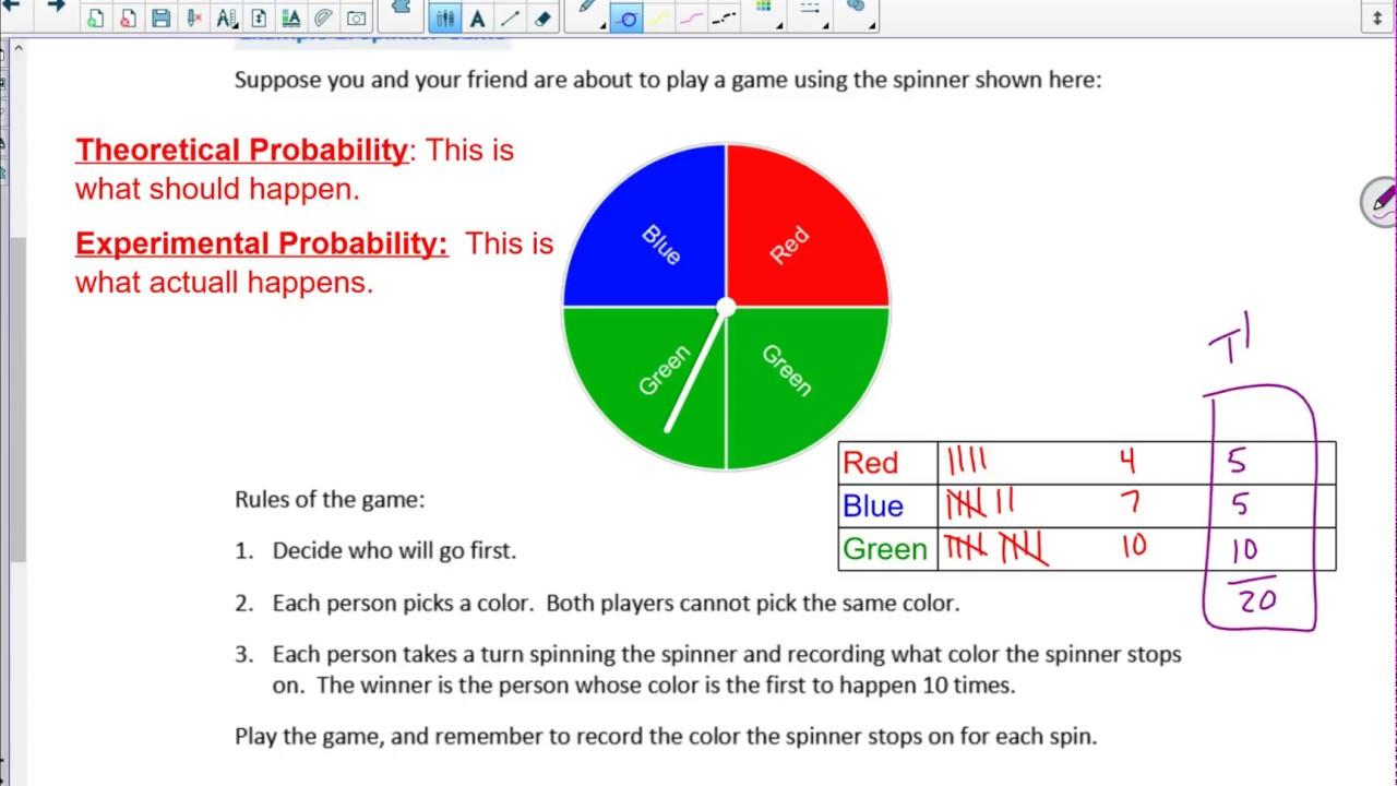 worksheet Probability Spinner lesson 1 module 5 probability youtube probability