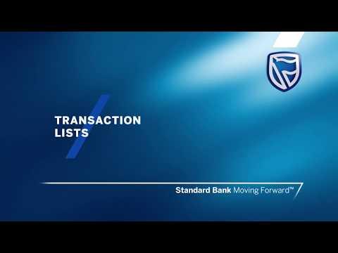 Standard Bank – International Online Banking - Transaction Lists