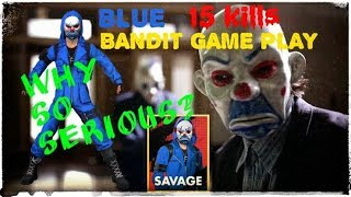 FREE FIRE - SAVAGE BLUE BANDIT GAMEPLAY | TOP CRIMINAL BLUE | 15 KILLS | DUO RANDOM CLASSIC MATCH