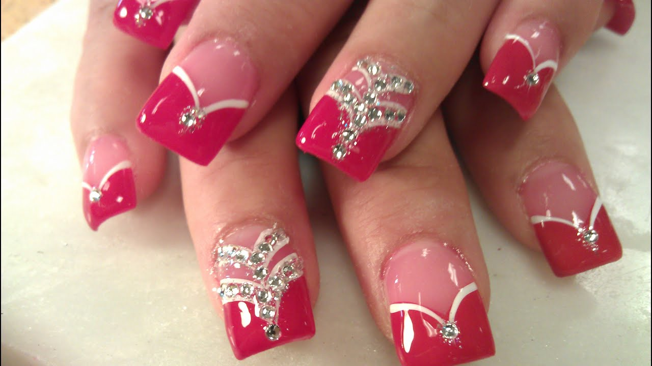 HOW TO LADY IN RED ACRYLIC NAILS - YouTube