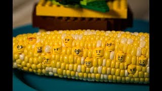 LEGO in Real Life - LEGO Hamburger and Corn | Stop Motion Video