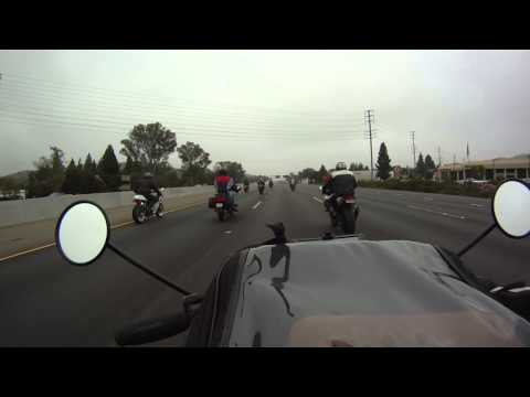Group motorcycle run on Ventura Freeway from the Rock Store