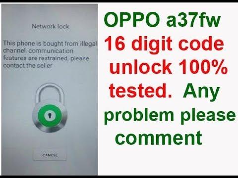 Oppo 16 Digit unlock | Oppo A37Fw Network Unlock Done | oppo smart phone