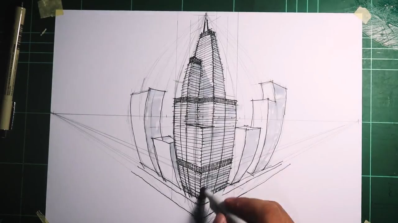 Gambar Perspektif 4 Titik Hilang I How To Draw Using 4 Point Perspective Youtube