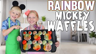 Rainbow Mickey Waffles || Kid Size Cooking