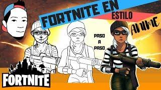 Comment dessiner Fortnite dans le style anime - Fortnite Saison 5 anime (Skin LADRONA) Herreraeddyz Herreraeddyz