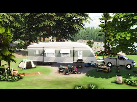 The Sims 4 Outdoor Retreat Glamping Travel Trailer Stop Motion | No CC |