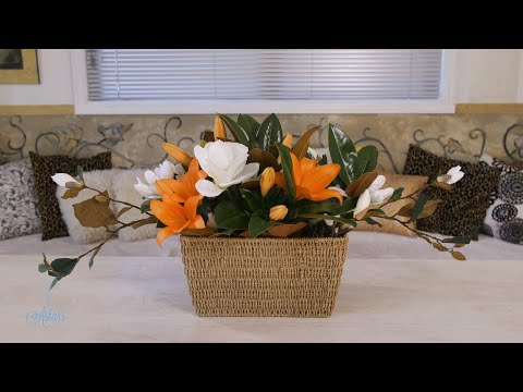 Floristry Design Tutorial: Magnolia and Tiger Lilies in a Wicker Basket thumbnail