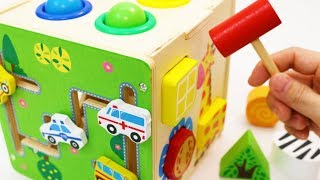 Learning Colors Shapes Vehicles Animals with Wooden Box Hammer Balls Toy