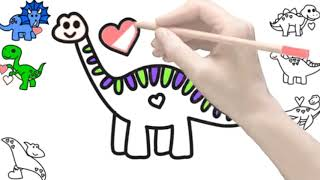Coloring dinosuore, drawing and painting for kids.