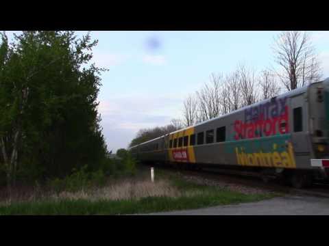 Ontario Trip 2017 Video 22 of 111: VIA 55 Near Newtonville Canada 23MAY17 P42DC 904 Leading