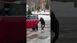 Hilarious Laugh - Woman Slipping on Ice in her Driveway