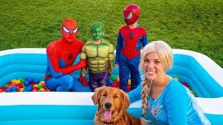 Frozen Elsa and Hulk SAVE Puppy From Spiderman!