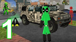 Green Pool Stickman Rope Hero Gangstar Crime - Gameplay Walkthrough Part 1 (Android,iOS)