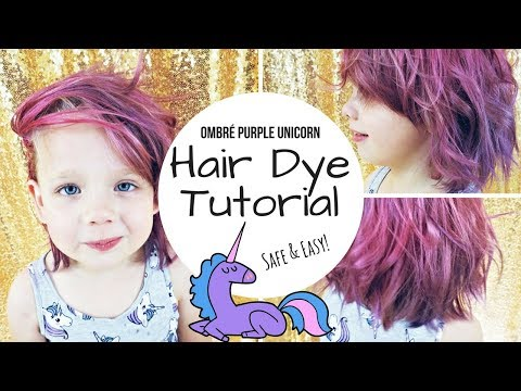 TUTORIAL: DIY Dyed Purple / Pink Unicorn Hair - ON A KID! - 동영상