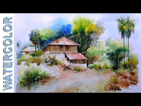 Watercolor Painting  Village mud-House Scenery Tutorial By Nihar Debnath