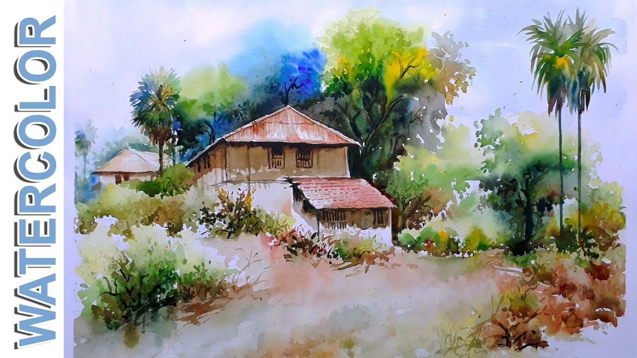 Watercolor Painting Village Mud House Scenery Tutorial By Nihar Debnath