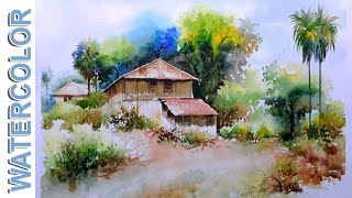 Watercolor Painting  Village mud-House Scenery Tutorial By Nihar Debnath