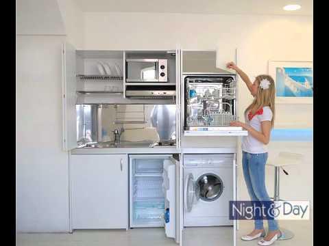 Cucina compact art186 con ante a libro completa di lavatrice e lavastoviglie  YouTube