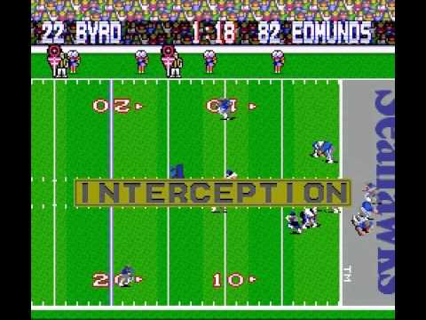 Tecmo Super Bowl (SNES) - Chargers vs Seahawks 1st Half