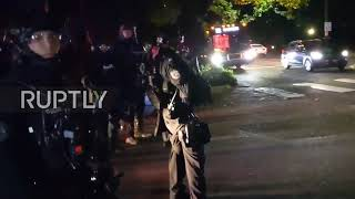 """USA: Portland protesters clash with police at demonstration outside Sheriff""""s office"""