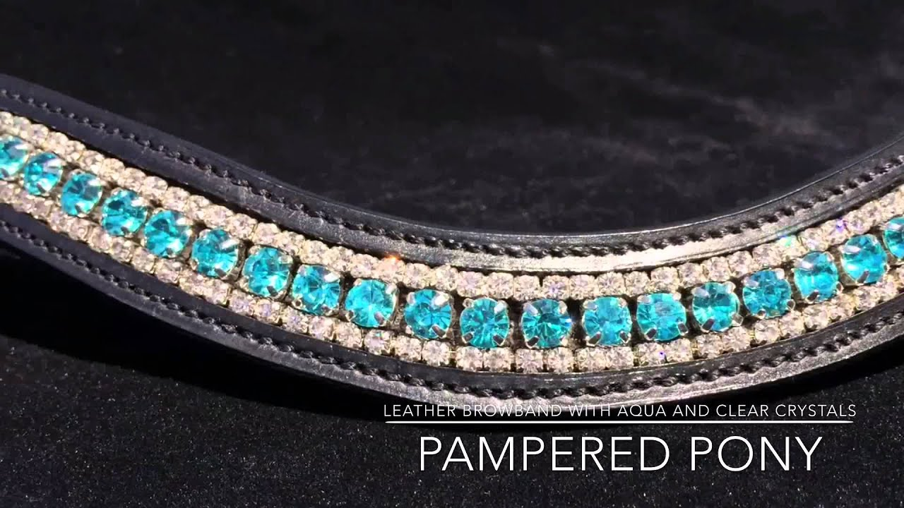 Full Aqua and clear crystal browband in black leather