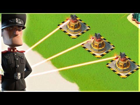 Boom Beach 3 MAX Laser Beams vs Defending Hammerman!
