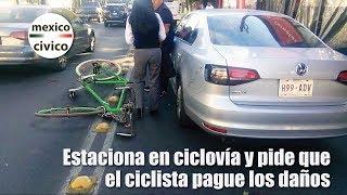 Conductora estacionada en ciclovía pide que ciclista pague los daños