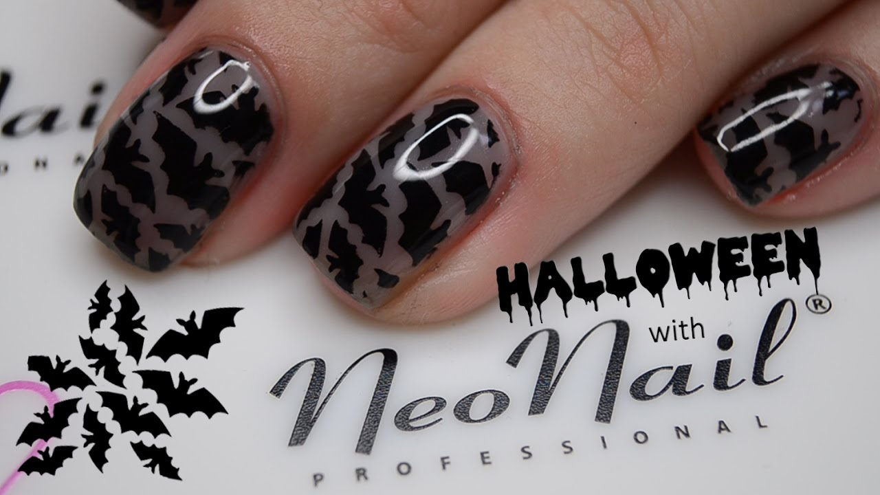 Halloween Nails With Neonail Stemple Na Hybrydzie Nail