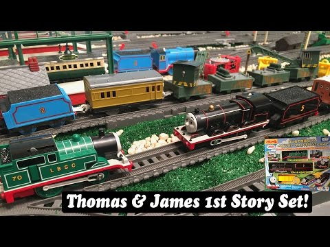 Thomas and Friends Toy Train Set-Plarail Trackmaster Green Thomas & Black James Set!