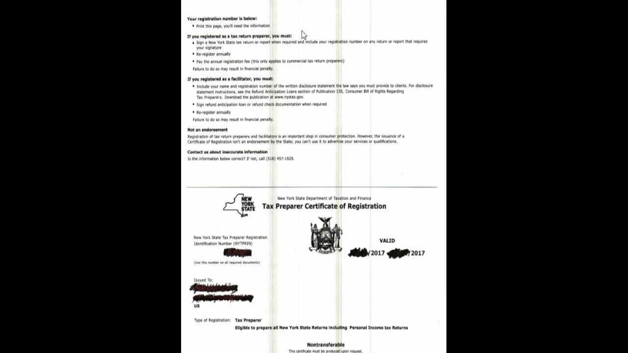 Tax Preparer Certificate Of Registration Youtube