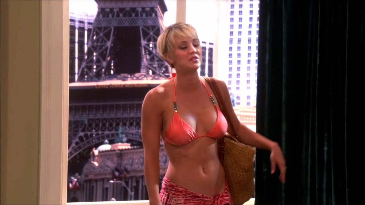 Black N White Girl Wallpaper The Big Bang Theory Penny Hot Orange Bikini Kaley Cuoco
